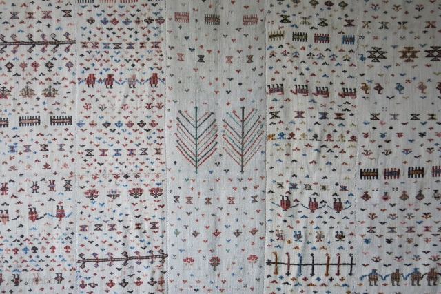 "Shasavan Parda Jajim, 5 panels bedding pile cover. Good condition, no repairs etc. Size : 71"" X 57"" -- 180 cm X 145 cm"