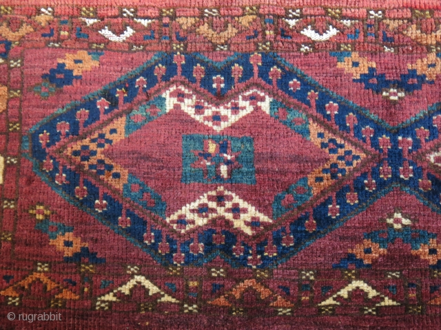 "Turkmen Ersary Ikat Torba fragment. amzing fine wool with little cotton, asymmetrical open to right.  Circa 19th. size: 27"" X 15"" -- 69 cm X 38 cm"