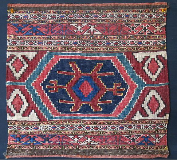 "Shahsavan bedding bag end panel, circa 1900 or earlier, Size: 20"" X 19"" -- 51 cm X 48 cm"