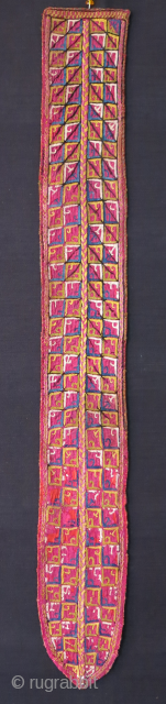 """Turkmen hair pigtail. silk emrboidry with Russian printed cotton backing. Circa 1900 or earlier Size: 30"""" X 3.5"""" -- 76 cm X 9.5 cm"""