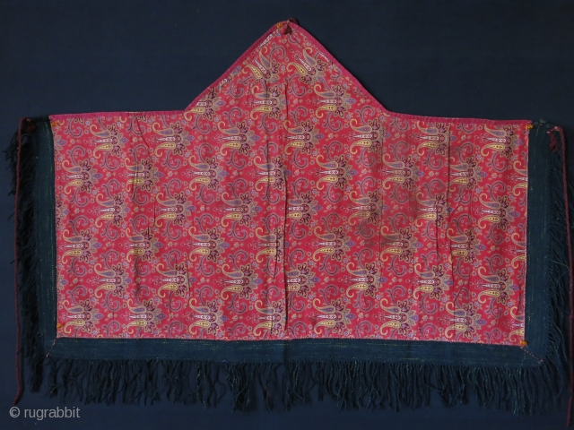Turkmen 5 corner broadcloth Asmalyk with Russian printed cotton backing. Circa 1900 -1920s