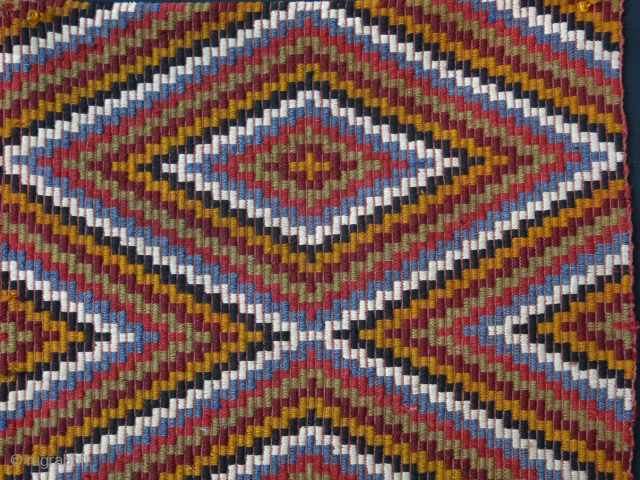 """West Anatolia Dazkiri /chal. Extra weft woven kilim band. Mostly saturated good colors, Circ 1920 -1930s, Size : 49"""" X 19"""" -- 125 cn X 48 cm"""
