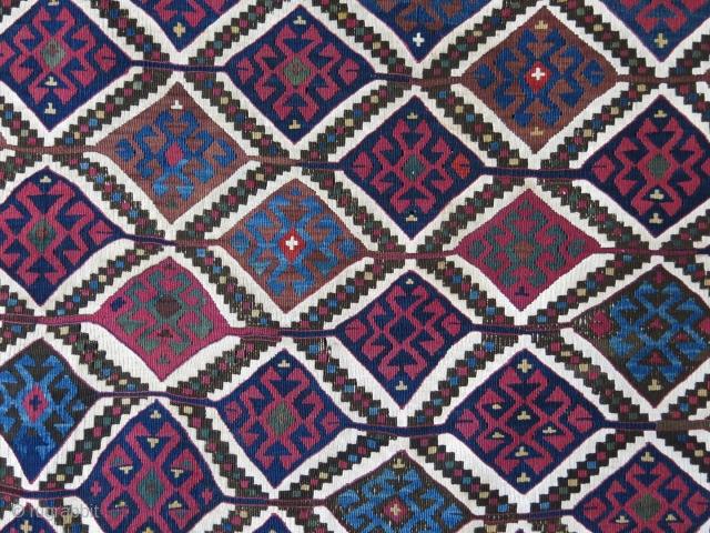 """Eastern Turkey Kurdish kilim bag, fairly in good condition. size: 40"""" X 37.5"""" -- 102 cm X 95 cm"""