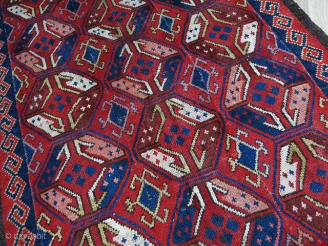 "Central Asian - Middle Amu Darya Uzbek Julkur 5 panels, some old professional repairs. still has pile. Circa 1900 - 1920s. size: 112"" X 66"" -- 285 cm X 168 cm"