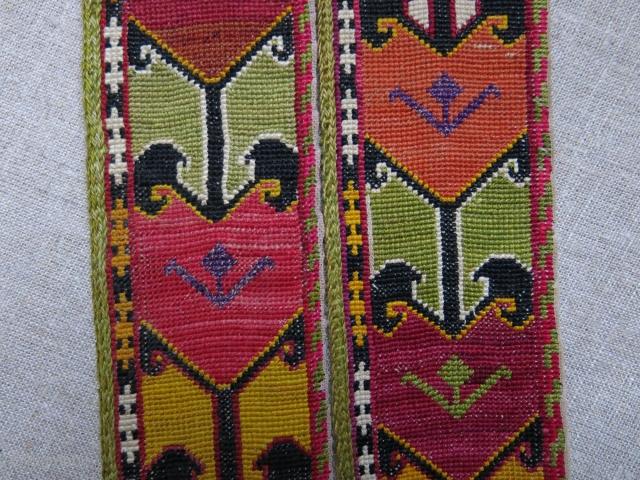 "Uzbekistan Lakai cross stitch silk emrboidery pair of belts, overall great condition, no corrosion etc. circa 1920s size: 44"" X almost 2.5"" --111 cm X 6.5 cm"