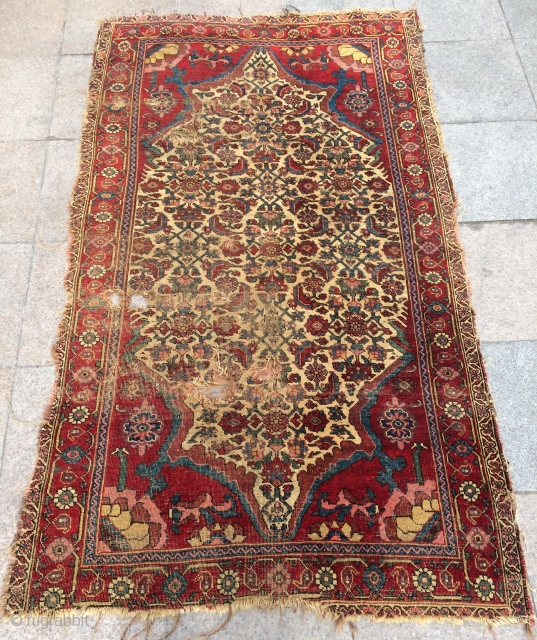 Persian bidjar rug very fine and very old circa 1820 th century size 200x120cm