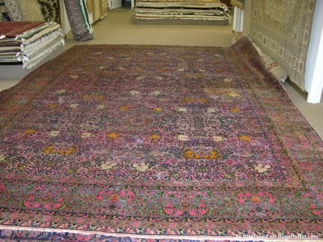 Persian Kerman nice wool Pink, Blue, Yellow synthetic colors 