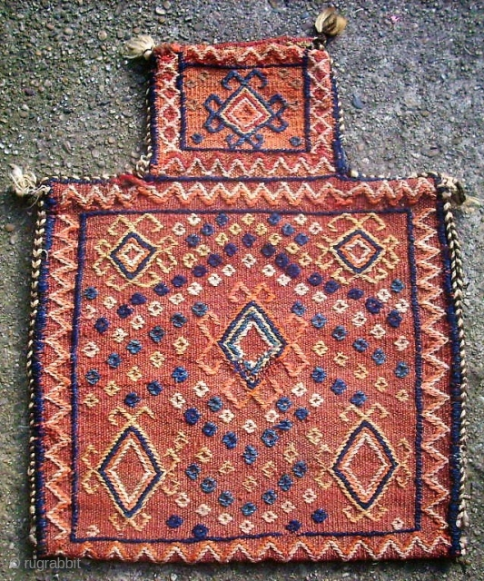 Very old persian Saltbag. Size: 46 x 56 cm. Cicim.