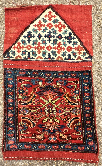 antique Bidjar Mafrash side. Size: approx. 50 x 50 cm. Great colors and perfect wool.