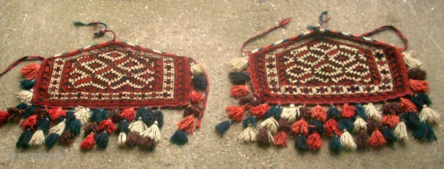 Rare small Pair Yomud Asmalyk. Size: 35 x 60cm and 31 x 60 cm. Very good condition.