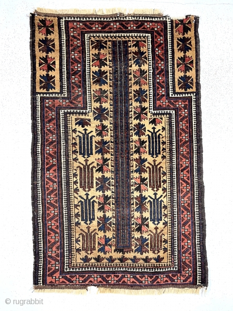 Antique camel ground Baluch prayer with an uncommon totemic tree design, good pile and good old colors including rich blues. Interesting dramatic secondary motifs. Overall mostly good pile and tight weave, some  ...