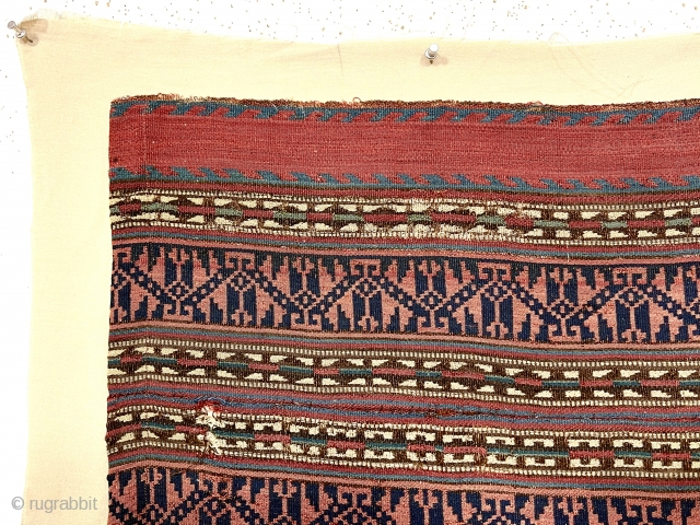 """Antique Persian or Kurdish jajim fragment mounted on linen or cotton backing. Fine weave and beautiful natural colors. Great supple handle. 19th c. 13"""" x 33"""" not including backing."""