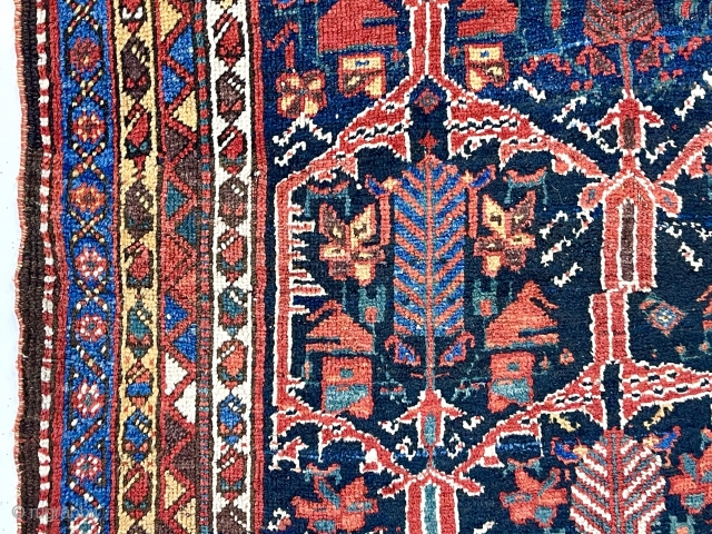 Antique Persian rug, likely bahktiari,  in very good condition with an attractive design and lovely old colors. Overall good medium length pile with just light wear. I see a few tiny  ...