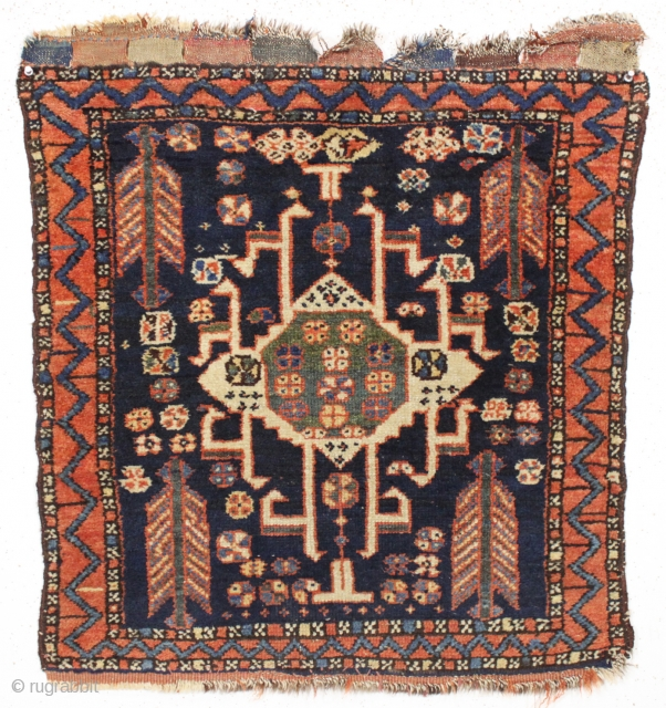 antique northwest persian bagface with an interesting design, deep blur ground and overall good pile. As found, very dirty but nice tight weave, good even pile and original closure tabs. All good  ...