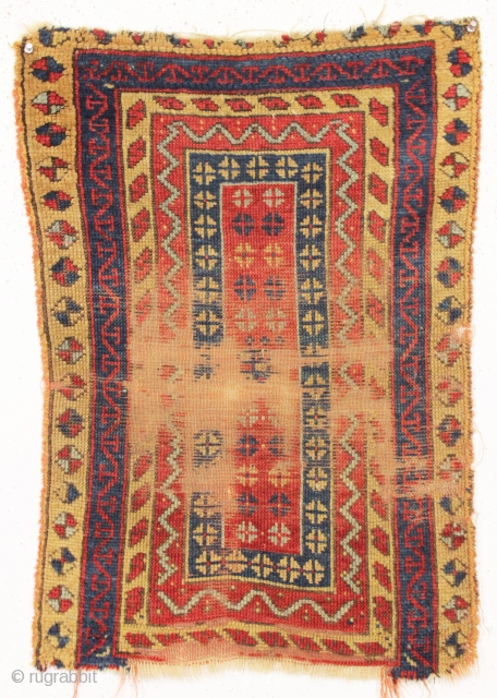 "old and unusual anatolian yastik. All natural colors. In rough condition as shown. Good age, 3rd qtr. 19th c. 22"" x 30"""