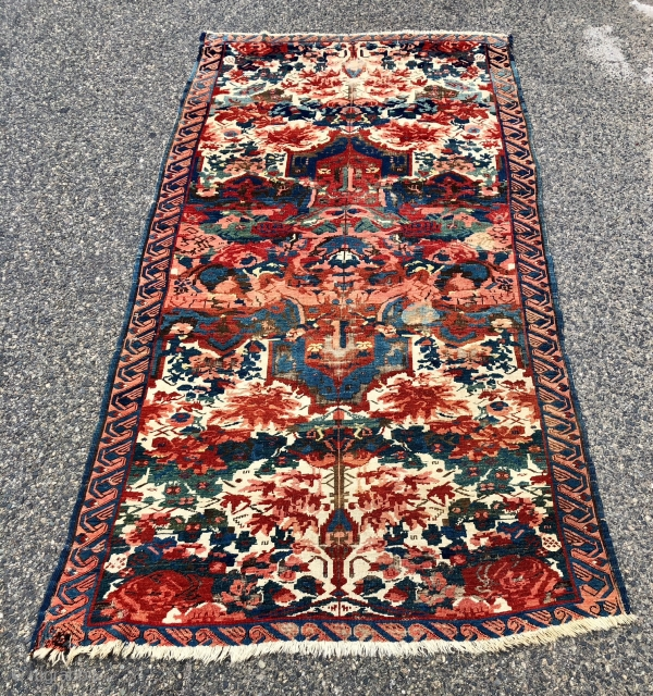 Antique Caucasian seichour rug. The usual wild and crazy field but in an unusually large size. Good weave with blanket like handle. Overall even low pile with heavy brown oxidation and scattered  ...