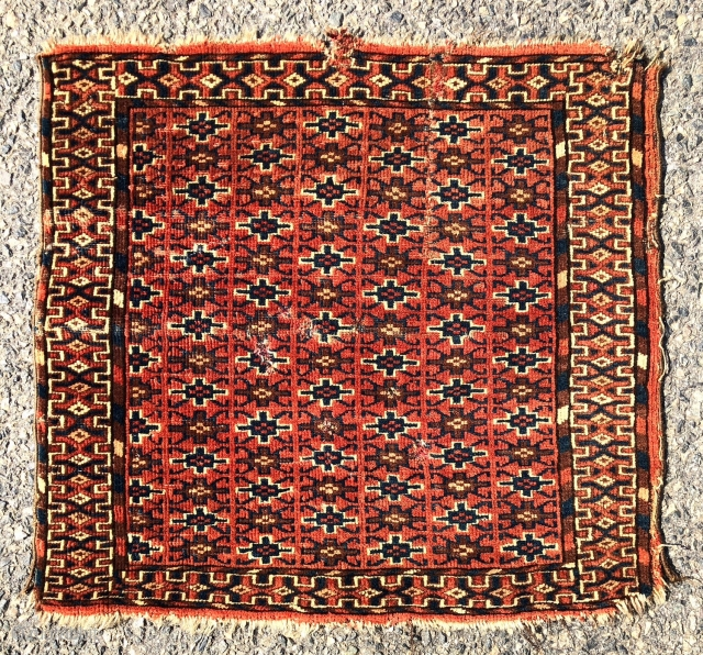 Antique little turkman pile weaving also in the square format. Interesting all over design field using well known yomud border motifs. I associate the complex vine main border with tekke weaving. Beautiful  ...
