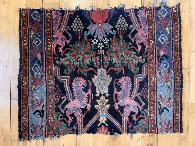 Antique bidjar lion rug fragment. Lovely colors and classic drawing. As found from local home, in distressed condition with rough cut ends. Scattered wear as shown. Could use a good wash. Late  ...
