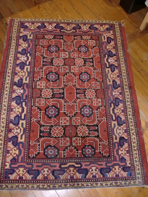 Rare Samarkand ( Khotan) medium sized ( 165x125 cm) rug. C. 1910. Selvages and some corners damaged, lost fringes, but all sides secured. Full pile, natural colors. The square of anatolian Godesses  ...