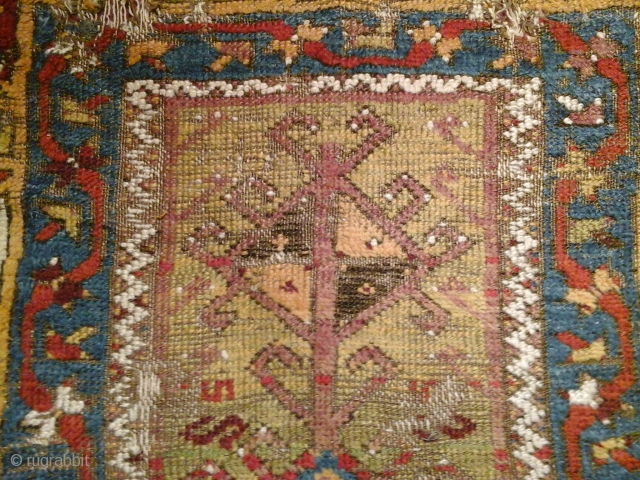 Konya Area Prayer rug, 140x105 cm, mounted on linen. The vitality and the vibrant border-colors ( not done justice by the photograph) of this ancient piece defy many a comparable piece. In  ...