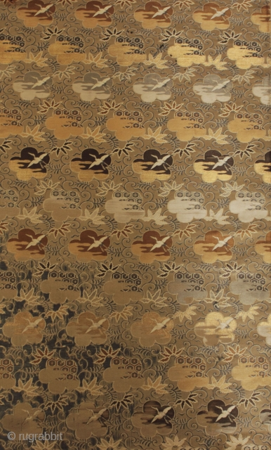 Chinese or Japanese silk textile. 57x36 cm. Age and religious or profane purpose unknown. This exquisite fragment was part of a old German private collection of Asiatic textiles varying from the 11th  ...