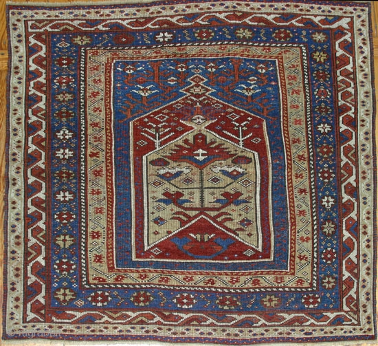 19th.C. Westanatolian Prayer Rug ( 130x130 cm ) in great condition, ends and sides are all original.Not one single problem. Great colors, especially the yellow. Former owner attributed it to Makri, but,  ...