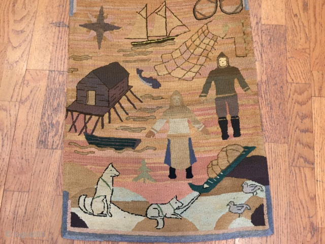 A exquisite and rare Grenfell Labrador Industries hooked rug of silk stocking or lingerie early 20th Century.