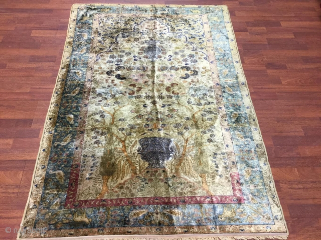 "Antique Turkish Bird of Paradise Silk Prayer Rug-4404. Central Turkey,from kaysari district, size 4' by 5'.9"",circa late 19th Century,prayer Mogul design of the birds of Paradise on gold,field,with vase and hanging light,birds  ..."