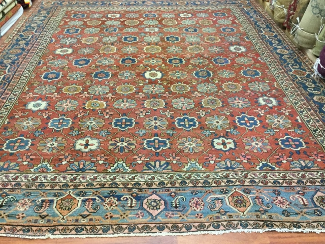 "19th Century allover Persian Bakhshayash Rug-3505-Northwest Persia, size 10''.5""""x 12''.5"""" circa late 19th century. Overall design with ""snowflakes"" or "" minakhani "" and large palmette covering the entire red-brick field. Turtle border  ..."