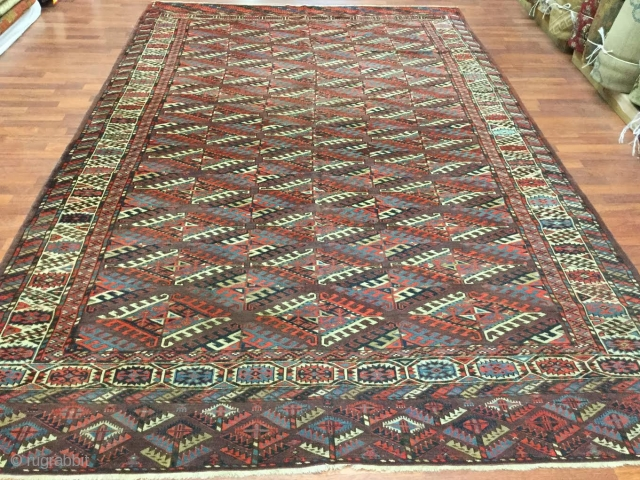 19th C Yomud Turkoman Main Carpet-1483-Antique Main Yomud carpet, from tribal Turkestan , size 7 ft by 11 ft, circa 1900. Rectangular center field with 3 by 12 rows of dyran gols  ...