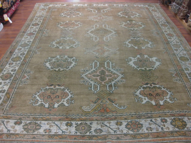 Antique Turkish Ushak Rug-3990-West Of Turkey, size 8 ft. 10 inches by 11 ft. 7 inches, circa 1900. allover design on olive green field, excellent condition throughout except very slight lower pile,  ...