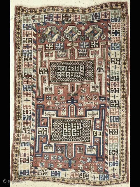 Antique Khorassan Rug with interesting motifs. More photos and details here: https://wovensouls.com/collections/antique-persian-central-asian-caucasian-rug-textiles-carpet/products/1322-antique-khorassan-kordi-rug