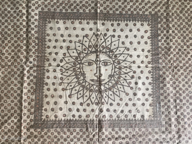 An old Jain Ceremonial Textile. More Details - https://wovensouls.com/products/1362-antique-jain-ceremonial-textile-artwork-with-henna-painted-sun-motif