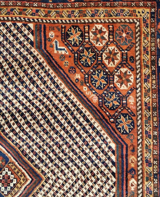 Village Nieriz South Persian Fishbone rug with stunning star lattice in the four corners separated by candy-stripes. One corner has an animal strolling amidst the flowers. Please click on the link to  ...