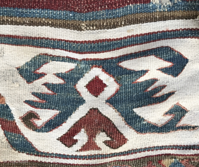 Specatcular white borders on Anatolian Kilim fragment. More photos here: https://wovensouls.com/products/832-pair-of-antique-anatolian-kilim-mounted-fragments-gorgeous-white-borders?ls=en / Can be shipped out immediately.