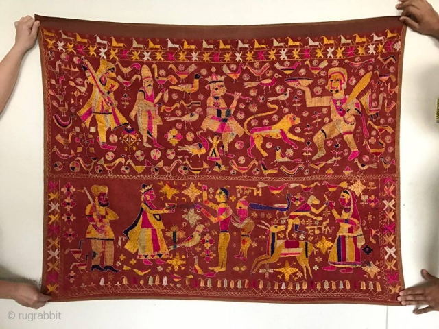 Antique Figurative Phulkari Temple Hanging Punjab with Inscription in Gurmukhi. More photos and details on https://wovensouls.com/products/1077-antique-phulkari-temple-hanging-punjab