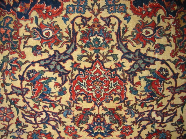 Antique Camel Isfahan rug with cotton foundation - late 1800s. Gorgeous colors and  perfect drawing. See this and other rugs here: https://wovensouls.com/collections/antique-rugs-location2