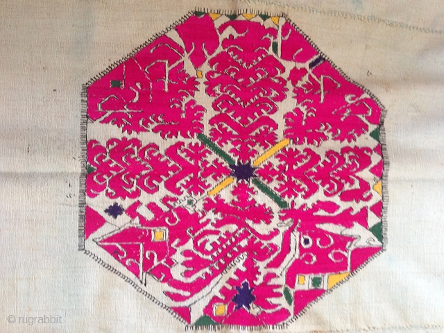"""Gorgeous Swat Valley Shawl with a asymmetrical motifs - this is uncommon as symmetry is seen in most textiles from this region. See more of asset """"781 Old Swat Valley Wedding Shawl""""  ..."""