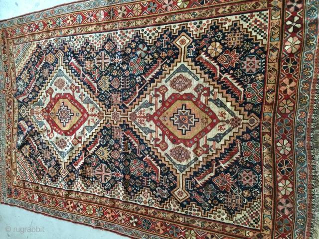 4-6x6-6 antique qashqai no repair original condition  Wool on wool circa 1880