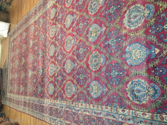 Antique Kerman Lavar 9-10x23-6 full pile condition 