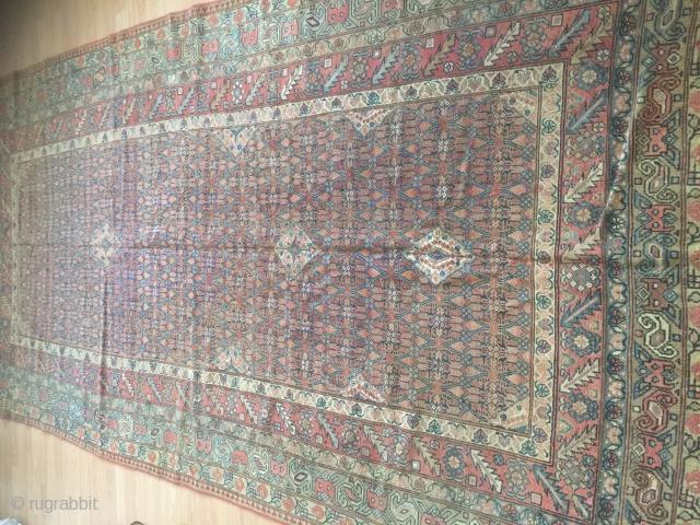 Antique Sarab circa 1880 wool on wool good condition  5-6x11-6