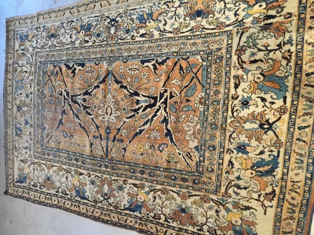 5x7-6 Tabriz Haji Jalili Sampler very good condition 7-6 feet wide and  5 feet long.