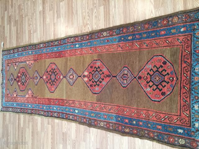 Antique Bakhshayesh 3-2x9-6 Camel hair field Very good condition everything original no repair.