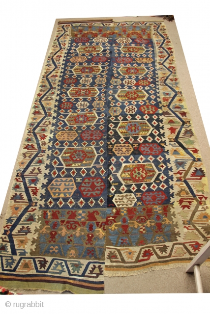 Turkish konya kilim size . 370 x 164 cm  130 years old  ıt has old repair