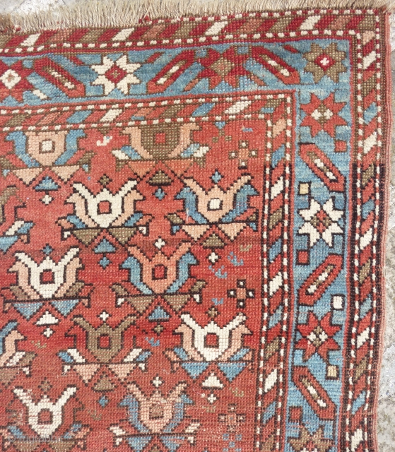 Caucasian rug (178cmX122cm). Low pile with overall uneven wear, few little repairs, frayed at ends (bottom end secured), all is shown and visible on pictures. Price fixed according to condition.