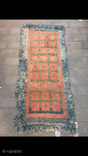 "#2082 Tibet Wangden rug. Blue background with red and green selvage checker boards veins.good age and quality. Size 165*75cm(64*29"")"