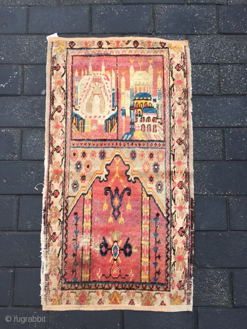 #1885 Xinjiang rug, It was produced in Khotan area in Xinjiang, a very nice Muslem pray rug, red background with beautiful flower and mosque veins, good age and quality.size 120*66cm(47*26'')
