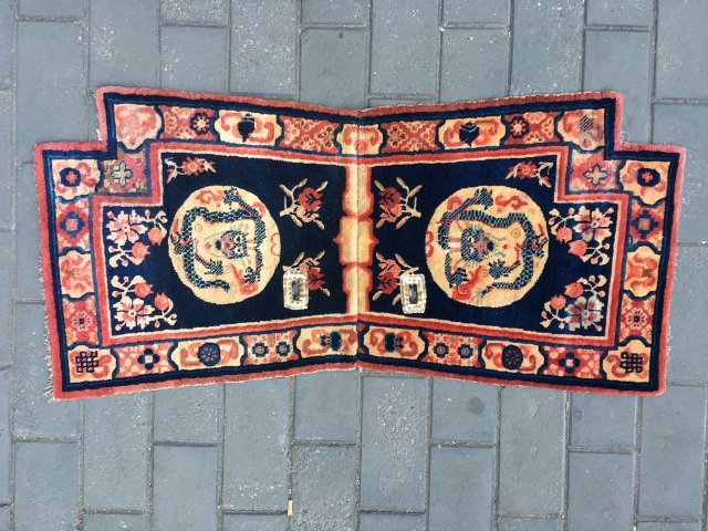 #1723 Baotou horse saddle rug, it was produced in Baotou area, blue background with double dragon veins, flower selvage. good age and quality.size 140*68cm(55*27'')