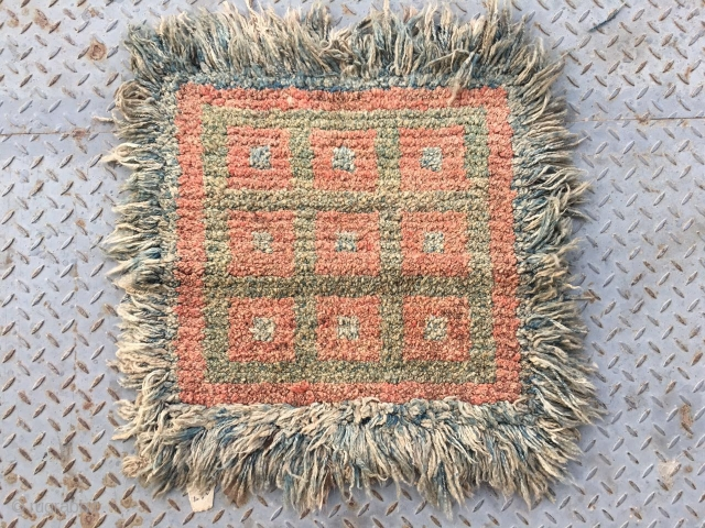 """#2004 Tibet Wangden rug, red yellow and blue quare checker pattern. good age and quality. Size 68*68cm (27*27"""")"""