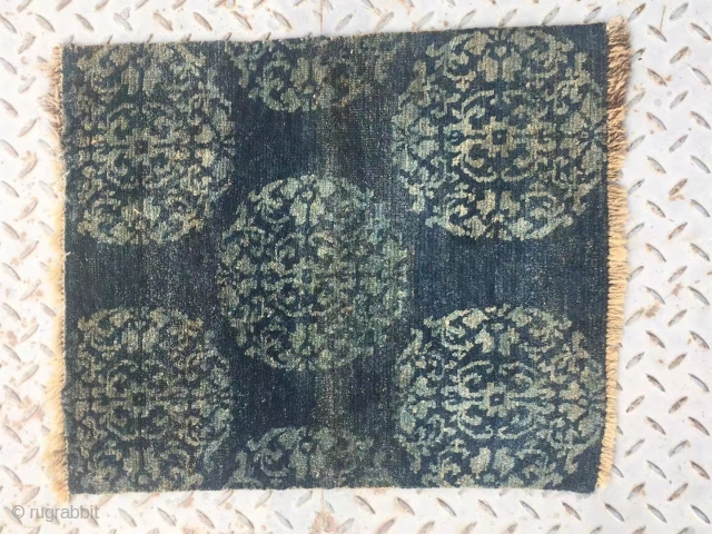 """Tibet rug fragment, rare blue background with green group flowers . Good age more than 100 years old. Size 60*48cn(23*19"""")"""